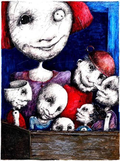 Obraz do salonu artysty Piotr Kamieniarz pod tytułem Skrzynia pełna maskotek