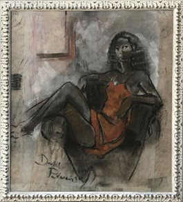 Living room painting by David Pataraia titled Nude