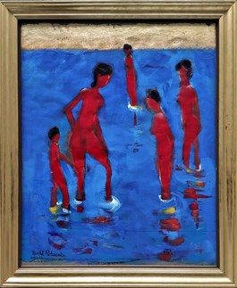 Living room painting by David Pataraia titled Bathers