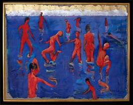 Obraz do salonu artysty David Pataraia pod tytułem Radość kąpieli