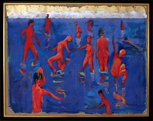 Living room painting by David Pataraia titled Joy of Bathing