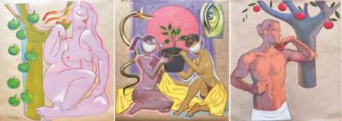 Obraz do salonu artysty David Pataraia pod tytułem Tryptyk Ewa, Początek i Adam