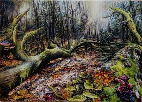 Obraz do salonu artysty Andrzej Masianis pod tytułem Bóg lasów pogańskich Prusów