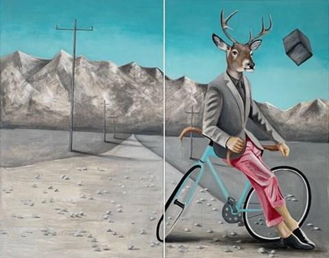 Obraz do salonu artysty Lech Bator pod tytułem Jeleń na rowerze