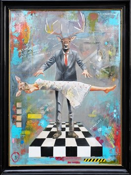 Living room painting by Lech Bator titled Levitation