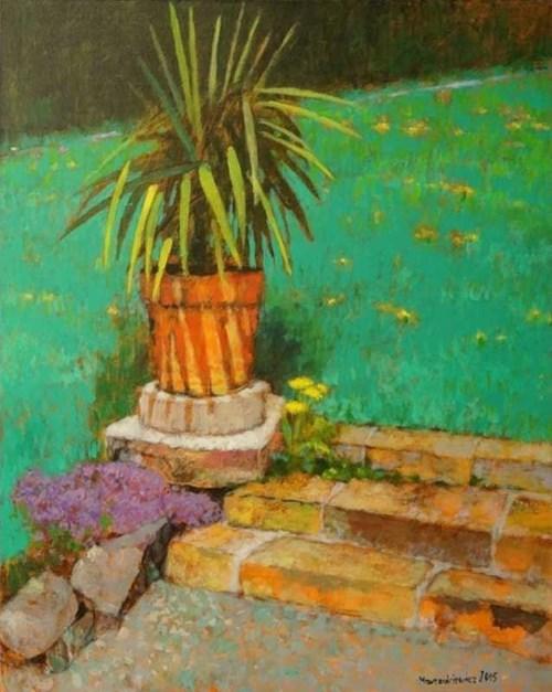 Obraz do salonu artysty Adam Marczukiewicz pod tytułem Motyw z Toskanii z palmą