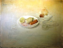 Living room painting by Wiesław Nowakowski titled The Plate