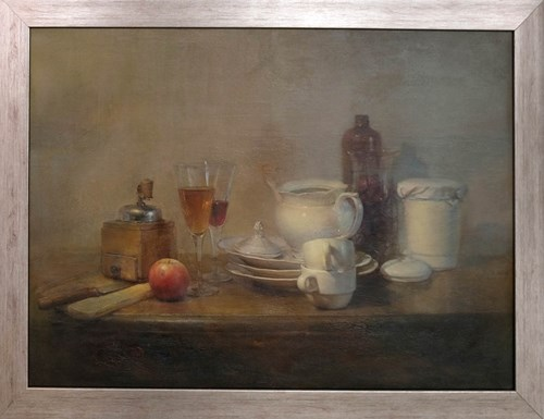 Living room painting by Wiesław Nowakowski titled Still Nature With Mill