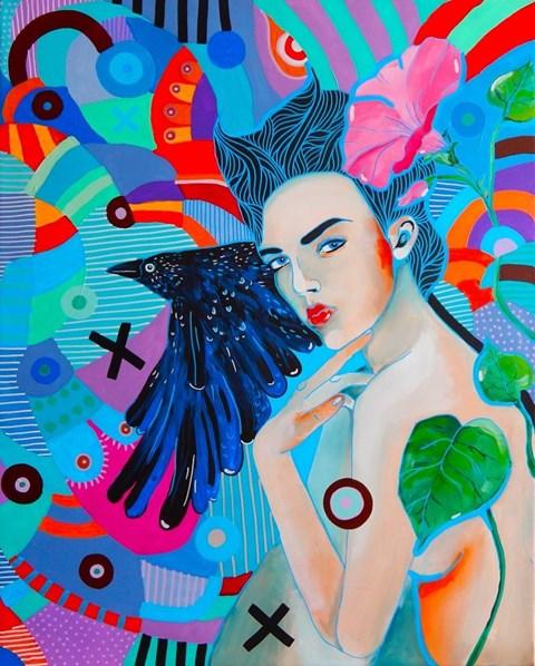 Obraz do salonu artysty Marcin Painta pod tytułem Ona i Kruk