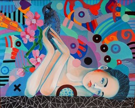 Living room painting by Marcin Painta titled She and the Black Bird