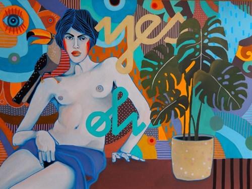 Obraz do salonu artysty Marcin Painta pod tytułem Ona i monstera