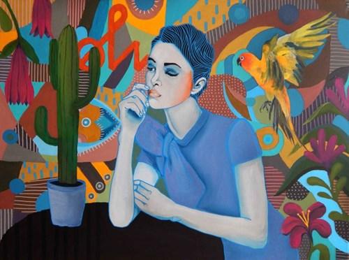 Obraz do salonu artysty Marcin Painta pod tytułem Ona i papuga