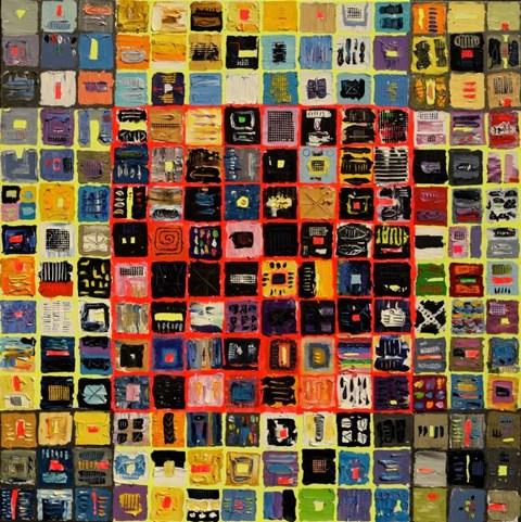 Obraz do salonu artysty Krzysztof Pająk pod tytułem Alfabet 4 z cyklu kody DNA