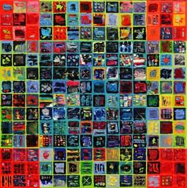 Obraz do salonu artysty Krzysztof Pająk pod tytułem Alfabet 5 z cyklu Kody DNA