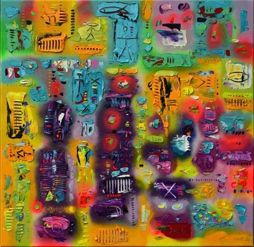 Obraz do salonu artysty Krzysztof Pająk pod tytułem Wojownik z cyklu kody DNA