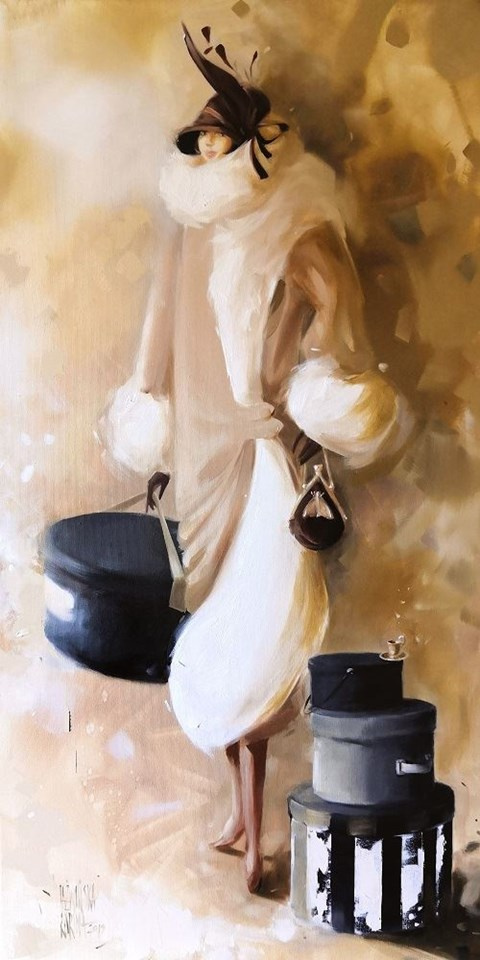 Obraz do salonu artysty Karina Jaźwińska pod tytułem Panna Kimberly jedzie do Londynu
