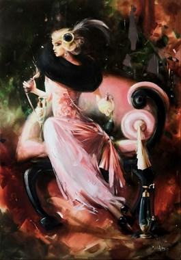 Living room painting by Karina Jaźwińska titled Sophie and bergamot