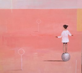 Living room painting by Ilona Herc titled Balance