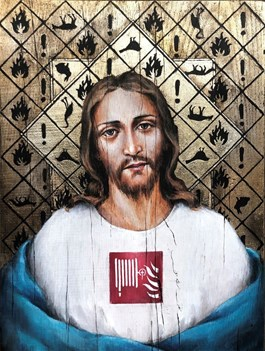 Living room painting by Borys Fiodorowicz titled Jesus of Biebrza