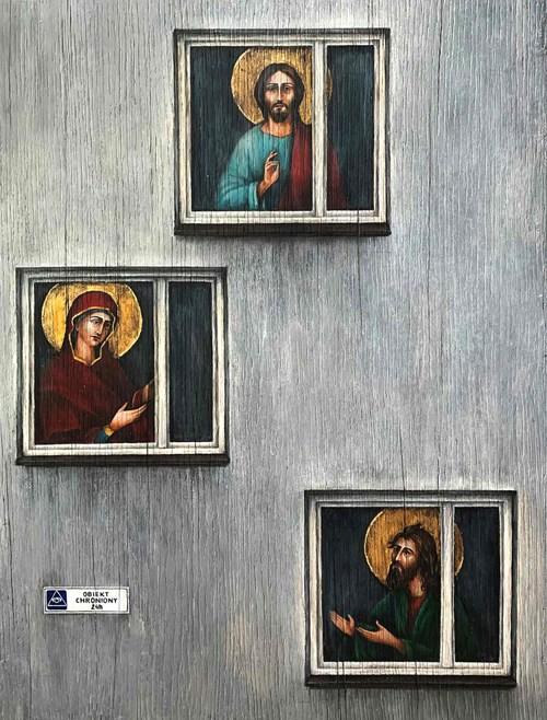 Obraz do salonu artysty Borys Fiodorowicz pod tytułem Deesis. W domach z betonu.