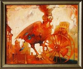 Living room painting by Wacław Sporski titled Metamorphosis