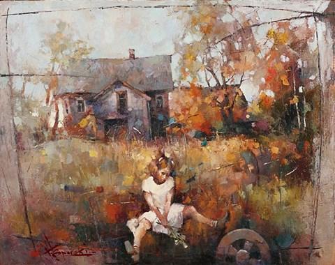 Obraz do salonu artysty Wacław Sporski pod tytułem Na podwórku