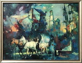 Living room painting by Wacław Sporski titled Traveling Fair