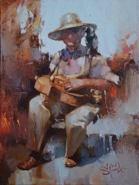 Obraz do salonu artysty Alex Sporski pod tytułem Uliczny muzyk