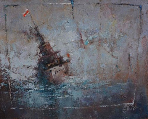Living room painting by Alex Sporski titled Brave One