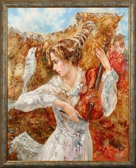 Living room painting by Stanisław Sugintas titled Violin Melody