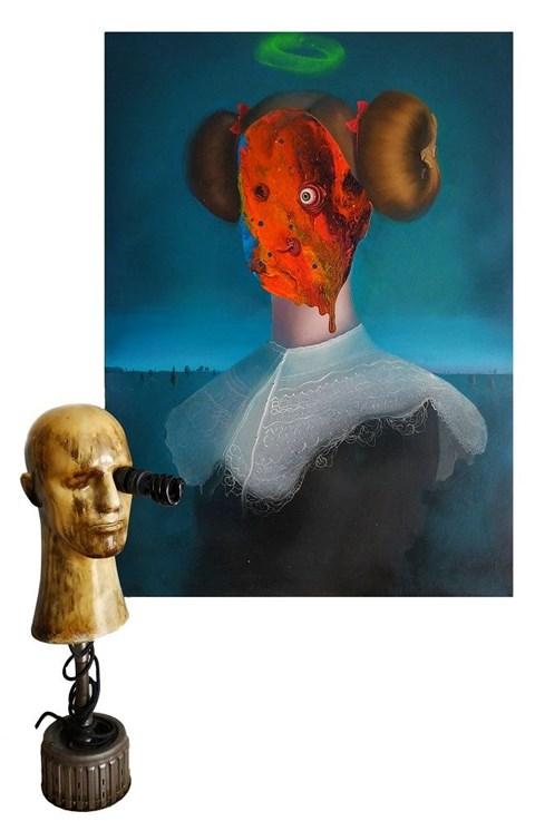 Obraz do salonu artysty Campio pod tytułem Make-up No Make-up (obraz i lampa)