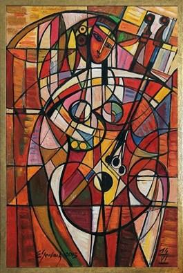 Obraz do salonu artysty Eugeniusz Gerlach pod tytułem Akt z instrumentem
