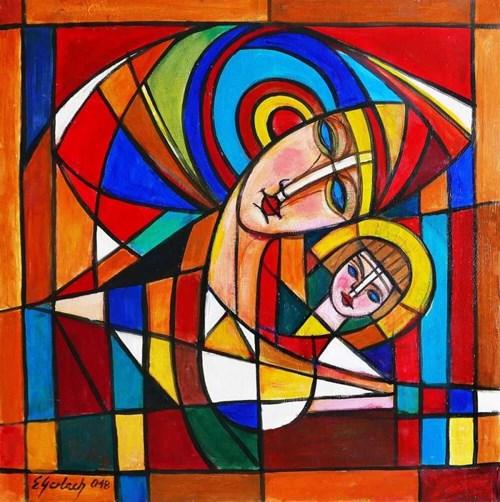 Obraz do salonu artysty Eugeniusz Gerlach pod tytułem Madonna z dzieciątkiem