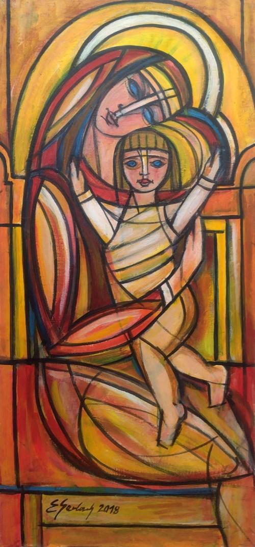 Obraz do salonu artysty Eugeniusz Gerlach pod tytułem Madonna z Dzieciątkiem II