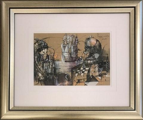 Obraz do salonu artysty Tomasz Sętowski pod tytułem Przystań szczęśliwa