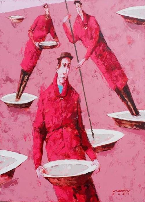 Obraz do salonu artysty Waldemar Marszałek pod tytułem Kompozycja z miskami