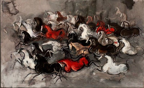 Living room painting by Józef Wilkoń titled Horses