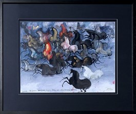 Living room painting by Józef Wilkoń titled I Let Another Herd to Gallop Against Coravirus