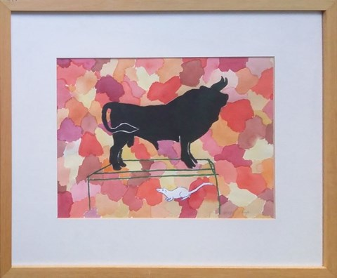 Living room painting by Ryszard Grzyb titled Bull 2