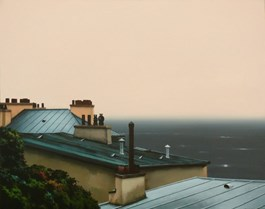 Living room painting by Henryk Laskowski titled Roofs