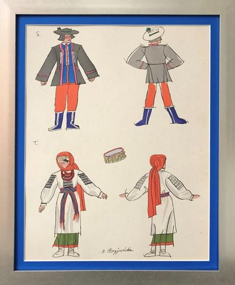 Obraz do salonu artysty Zofia Stryjeńska pod tytułem Plansza 12 z teki Polish Peasants Costumes, Copyright by C. Szwedzicki