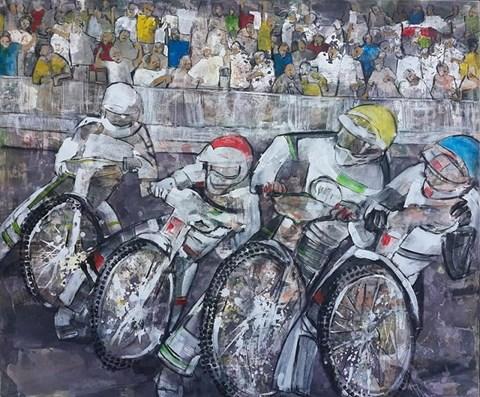 Obraz do salonu artysty Monika Ślósarczyk pod tytułem Żużlowcy