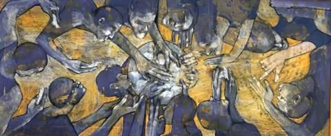 Obraz do salonu artysty Monika Ślósarczyk pod tytułem Wspólny posiłek