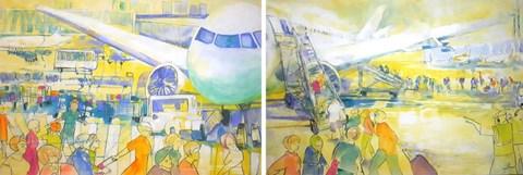 """Obraz do salonu artysty Monika Ślósarczyk pod tytułem Fragment cyklu """"Lotnisko"""" (dyptyk)"""