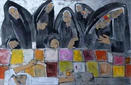 Obraz do salonu artysty Monika Ślósarczyk pod tytułem Zakonnice na lodach