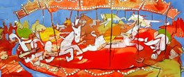 Living room painting by Monika Ślósarczyk titled Pardubice Carousel