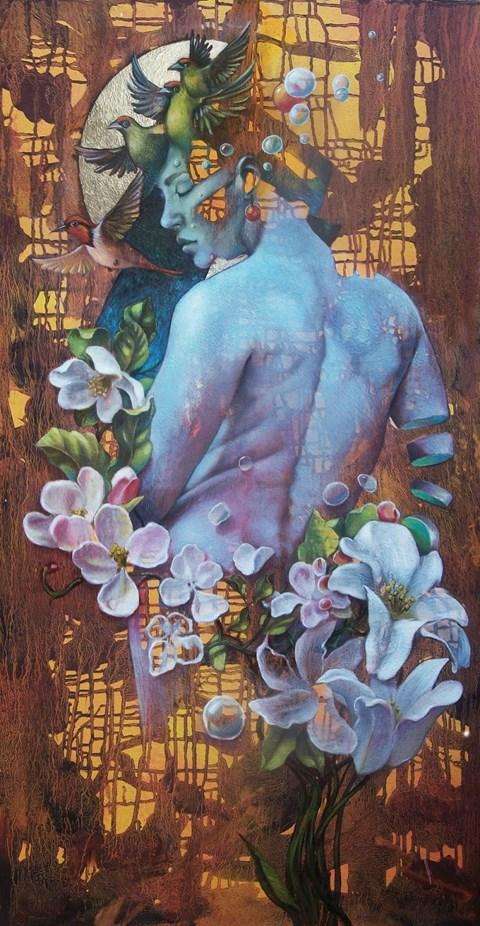 Living room painting by Maciej Wierzbicki titled Flora 2