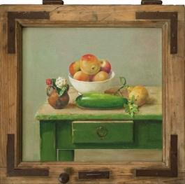 Living room painting by Wiktor Jerzy Jędrzejak titled Gifts of a Garden