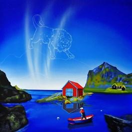 Living room painting by Paulina Zalewska titled Norwegian Lion