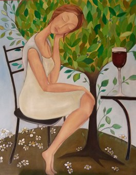Living room painting by Anna Przepióra titled Spring Muse